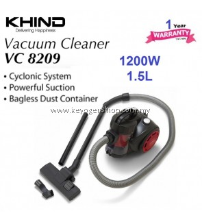 Khind Bagless Vacuum Cleaner VC8209 1.5Liter (Red)