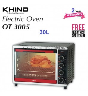 Khind 30L OT3005 electric oven - Free 2 baking tray