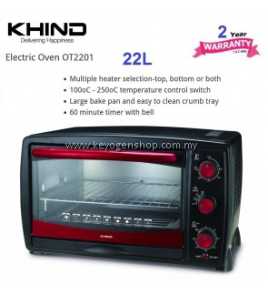 Khind 22L OT2201 electric oven - multiple heater selection - 2 yr wrty