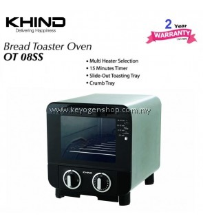 ( Flash Sale ) Khind 8 Litre stainless steel OT08SS mini bread toaster oven - 2 yr wr