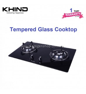 Khind HB802G tempered glass cooktop - 2 burner for LPG gas - 1 yr wrty