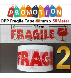Free Delivery 2pcs set Fragile warning tape 48mm x 50M in red white