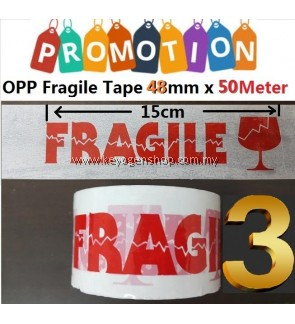 Free Delivery 3 pieces Fragile OPP tape for online store as sticker