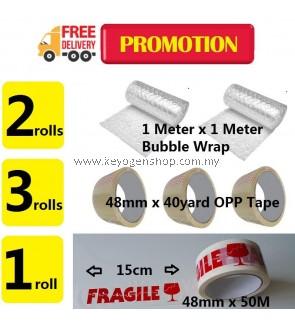 Combo Deal! opp tape 3pcs + bubble wrap 2 x 1M x 1M + Fragile tape 1pc