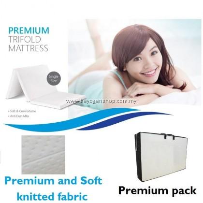 Premium 3' tri fold latex feel single mattress - soft comfort fabric