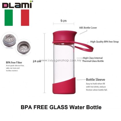 Free delivery Dlami ( Italy brand ) 550ml glass water bottle - red