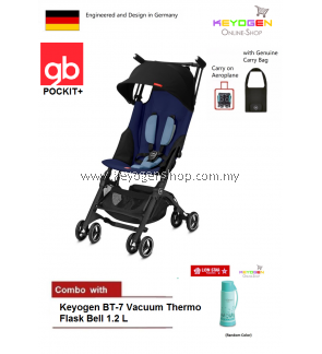 gb Pockit Plus Stroller (SAPPHIRE BLUE) with Travel Bag COMBO BT-7 Vacuum Thermo Flask Bell 1.2 L