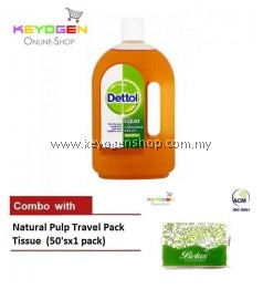 Keyogen 1unit Dettol Antiseptic COMBO Natural Pulp Travel 1Pack Tissue