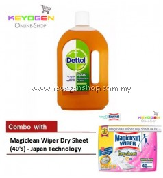 FREE SHIPPING Keyogen 1unit Dettol Antiseptic 750ml COMBO Magiclean Wiper Dry Sheet