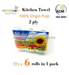 6 rolls 100% Virgin Pulp kitchen towels paper 70 sheets