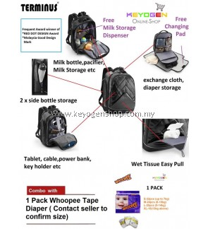 FREE SHIPPING TERMINUS URBAN DAD 2.0 Stylish Diaper Backpack bag - baby infant FREE 1 Pack Whoopee Tape Diaper #MYCYBERSALE