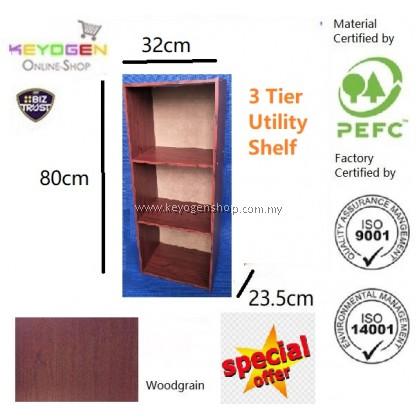 (Self Collect) 3 Tier wooden multipurpose Utility storage shelf organiser box rack #MYCYBERSALE