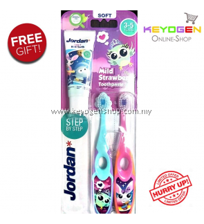 LIMITED OFFER! ( Norway brand ) 2 pcs Jordan Step 2 kid Toothbrush 3-5 Years BPA-Free COMBO with TOOTHPASTE