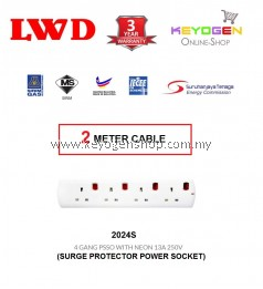 SIRIM Certified LWD 2024S- (2 Meter Cable) Trailing Socket 4 GANG PSSO WITH NEON 13A 250V - 3 Years Warranty