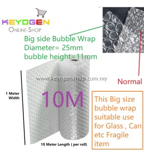 Big air bubble wrap diameter 25mm height 11mm Length 1 meter x 10 Meter (food grade) for fragile concern item like glass