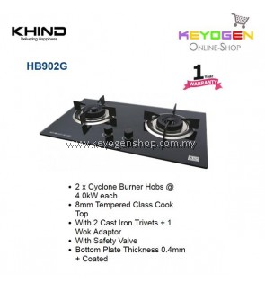 Khind HB902G tempered glass cooktop with 2 Cast Iron Trivets+1 Wok Adaptor