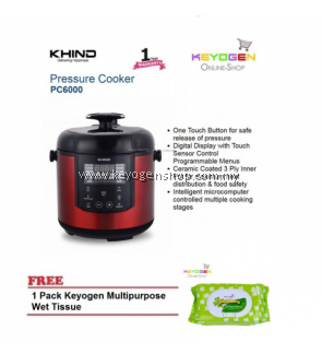 KHIND Pressure Cooker PC6000 Digital Display with Touch Sensor Control FREE 1 Pack Keyogen Multipurpose Wet tissue 80pcs per pack