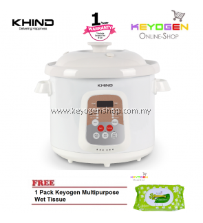 KHIND SOUP COOKER SC399 with High Quality Food Grade Ceramic Pot -1 Year Warranty- FREE 1 Pack Keyogen Multipurpose Wet tissue 80pcs per pack