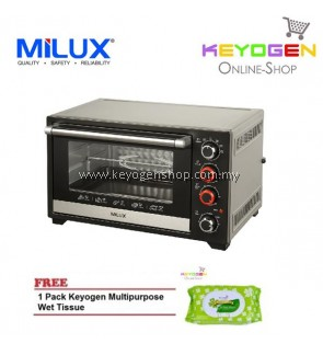 ( launching sale )MILUX Stainless Steel Electric Oven MOT-DS45 FREE 1 Pack Keyogen Multipurpose wet Tissue 80pcs per pack