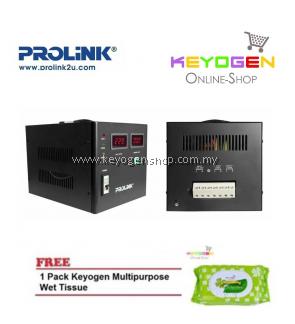 PROLiNK PVS3001CD 3KVA High-Precision Full-Automatic Voltage Regulator FREE 1 Pack Keyogen Multipurpose wet Tissue 80pcs per pack