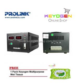 PROLiNK PVS5001CD 5KVA High-Precision Full-Automatic Voltage Regulator FREE 1 Pack Keyogen Multipurpose wet Tissue 80pcs per pack