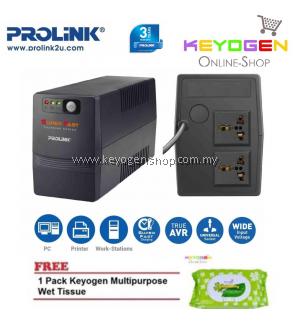 PROLiNK PRO700SFC 650VA UPS with AVR / Super Fast Charging 3-Year Warranty FREE 1 Pack Keyogen Multipurpose wet Tissue 80pcs per pack