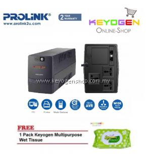 PROLiNK PRO1201SFC 1200VA UPS with AVR FREE 1 Pack Keyogen Multipurpose wet Tissue 80pcs per pack