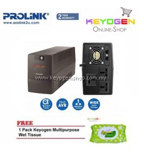 PROLiNK PRO1501SFC 1500VA UPS with AVR / Super Fast Charging 2 Year Warranty FREE 1 Pack Keyogen Multipurpose wet Tissue