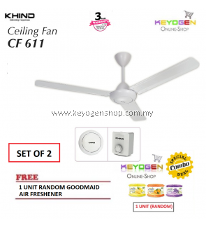 ( SET OF 2) KHIND CF611 Ceiling Fan with Safety wire provides extra protection FREE 1 Unit Random Goodmaid Air Freshener