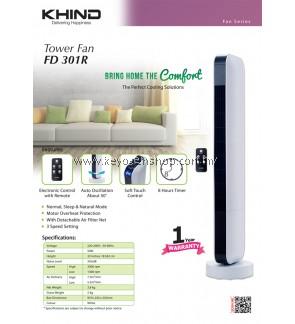 KHIND Tower Fan FD301R- Detachable Air Filter Net- 1 Year warranty FREE 1 Unit Random Goodmaid Air Freshener