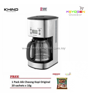 NEW KHIND CM100SS Coffee Maker with LCD Display FREE 1 Pack Aik Cheong Kopi 20 sachets x 10g