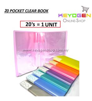 PP Clear Holder 20's A4 - 20 Pocket (1 Unit) (Random Colour)