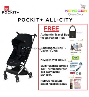 Free Shipping GB Pockit+ All-City Stroller (BLACK) FREE (1 Unit) Pockit+ Travel Bag, FOC (1 Unit) Holabebe Nursing Cover, (1 Unit) Keyogen Wet Tissue,(1 Unit) Thermometer for Kid Baby Infant BD1160A, (1 Unit) Remos Insect Repellent Spray #mycybersale