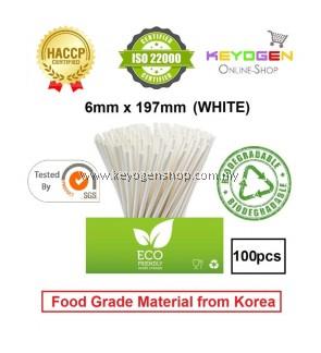 Keyogen 100pcs 6mm x 197mm Eco Biodegradable Paper Straw White ( Food Grade ) - HACCP - for restaurant