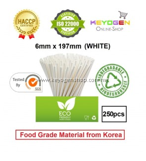 Keyogen 250pcs 6mm x 197mm Eco Biodegradable Paper Straw White ( Food Grade ) - HACCP - for restaurant