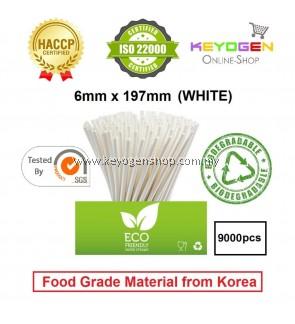 Keyogen 9000pcs 6mm x 197mm Eco Biodegradable Paper Straw White ( Food Grade ) - HACCP - for restaurant