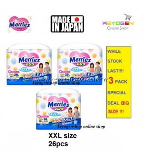 Made in Japan - 3 Pack XXL size 26 pcs Merries baby premium grade walk pant diapers - extra comfort (BIG SIZE)