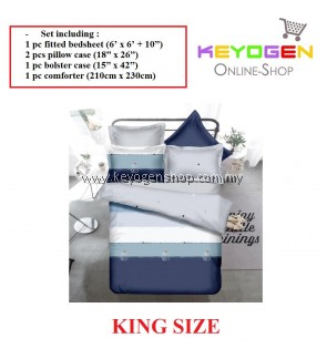 Keyogen Colour Aloe Bedding Set - COMFORTER ALOE FRI-NALLY (King Size) 1 Bed Sheet + 2 Pillow Cover + 1 Bolster Cover + 1 Comforter