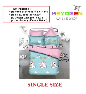 Keyogen Colour Aloe Bedding Set - COMFORTER ALOE BLUE UNICORN(Single) 1 Bed Sheet + 1 Pillow Cover + 1 Bolster Cover + 1 Comforter