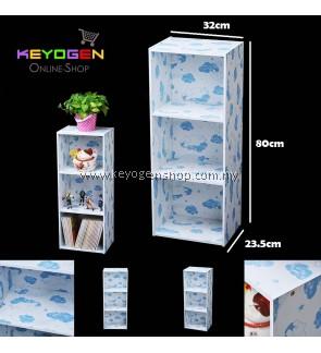 Keyogen Printed Cartoon Design 3 Tier wooden multipurpose Utility stor (Blue Bear Design)