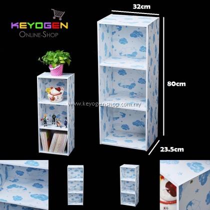 (Self Collect) Keyogen  3 Tier Printed Cartoon Design wooden multipurpose Utility stor (Blue Bear Design)