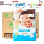 GENKI diaper pant New Launching on Oct 2019 1 Mega pack L size 50pcs FREE 8pcs - Japan technology