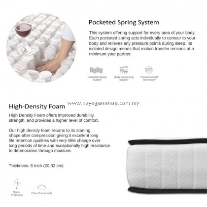 (Self Collect) NeckPro Rollen (Super Single) Compressed & Rolled Pocketed Spring Mattress (8 Inch Thickness) (10 Years Warranty)